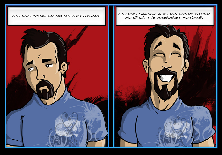 "Comic: Players reacting positively towards being called ""kitten"" on forums."